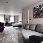 Mayfair interior design - Luxury Bedroom featuring bespoke lighting and MF Husain artwork