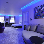 Mayfair - Luxury Bedroom featuring bespoke mood lighting and MF Husain artwork