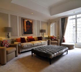 Mayfair formal lounge featuring MF Husain artwork