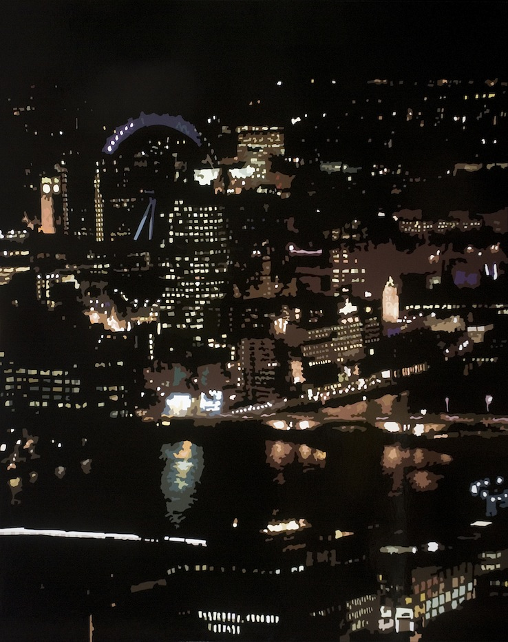 Southbank-at-Night-London-2008.-Gloss-on-MDF-153-x-122-cm