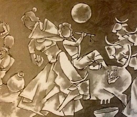 art work by M F Husian