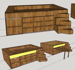 Storage and Study Bed